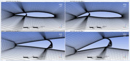 FSI results: deformed fluid dynamic grid of the reference aileron-wing section